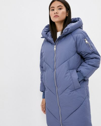Теплая синяя утепленная куртка Liana