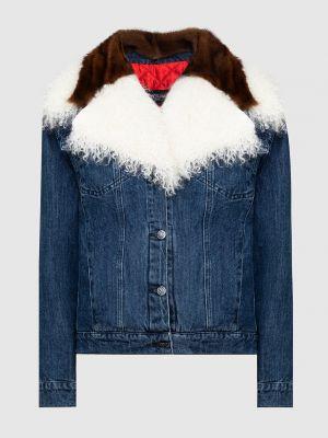 Норковая синяя джинсовая куртка с мехом Simonetta Ravizza