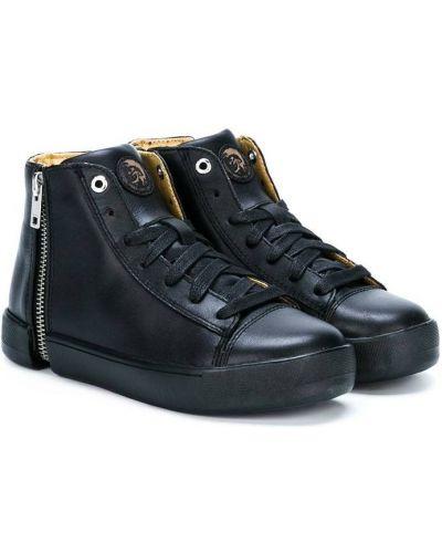 Черные хлопковые хайтопы на шнуровке с заплатками Diesel Kids