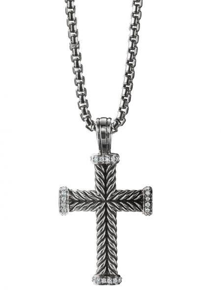 С ромбами серебряный крест с бриллиантом David Yurman