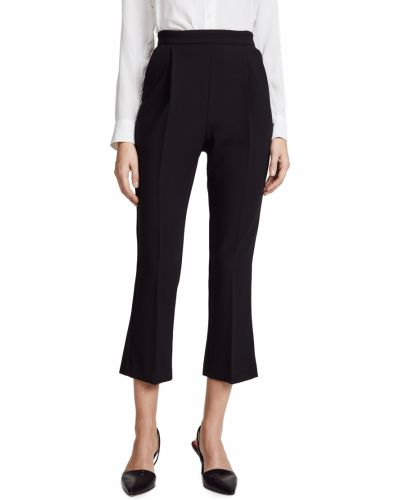 Черные укороченные брюки стрейч из вискозы Black Halo