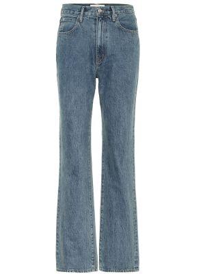 Прямые ватные хлопковые синие прямые джинсы Slvrlake