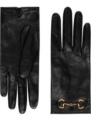 Skórzany rękawiczki czarny kaszmir Gucci