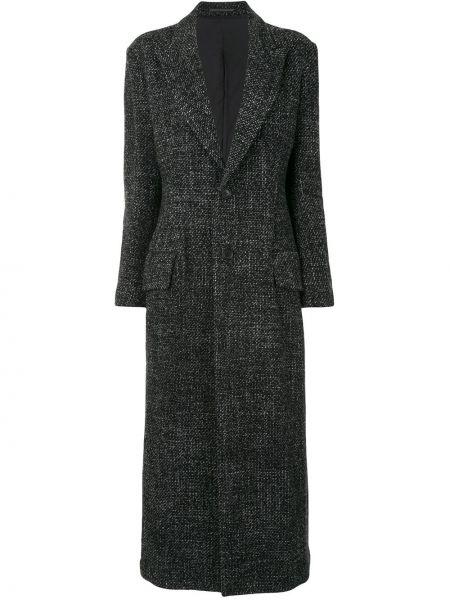 Серое шерстяное длинное пальто свободного кроя Yohji Yamamoto