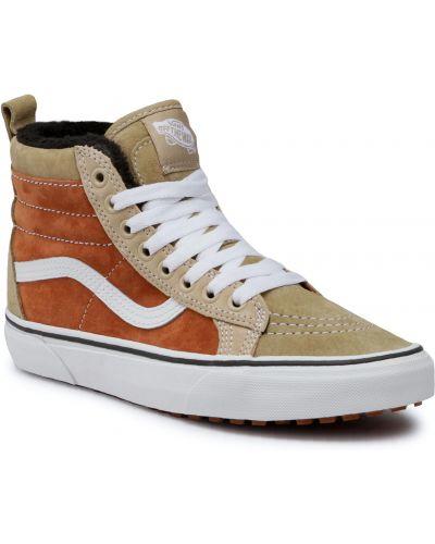 Brązowe sneakersy skorzane Vans