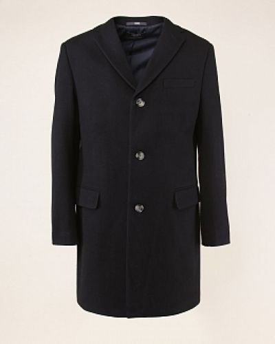 Синее драповое пальто с воротником каляев