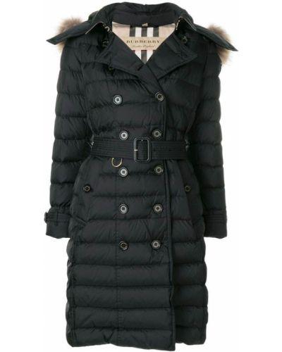 Пальто с капюшоном с поясом дутое с енотом Burberry