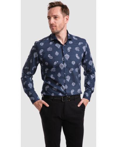 Хлопковая синяя рубашка с длинными рукавами Kanzler