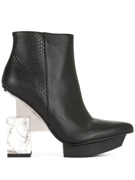 Черные ботинки на каблуке на молнии United Nude