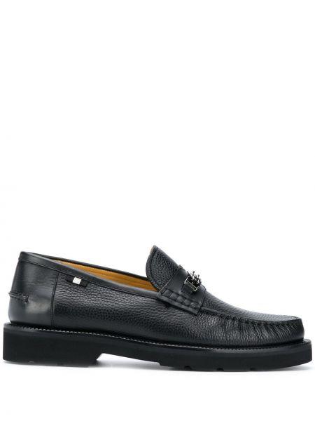 Черные кожаные лоферы на каблуке Bally