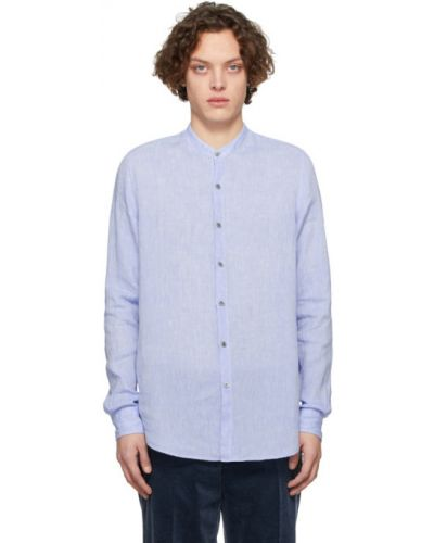 Синяя льняная с рукавами рубашка Giorgio Armani