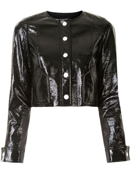 Черная кожаная длинная куртка с воротником Paule Ka
