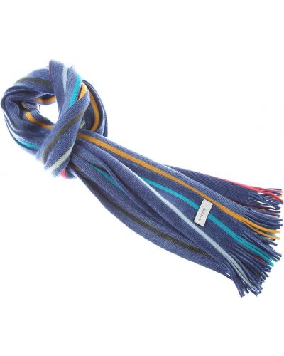 Niebieski szalik w paski bawełniany Paul Smith