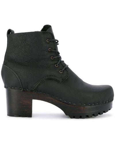 Черные ботинки на каблуке на шнуровке на каблуке No.6