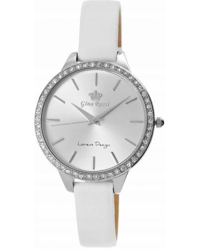Biały zegarek na skórzanym pasku elegancki Gino Rossi