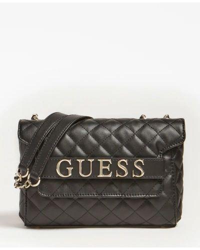 Городская черная сумка через плечо на молнии Guess