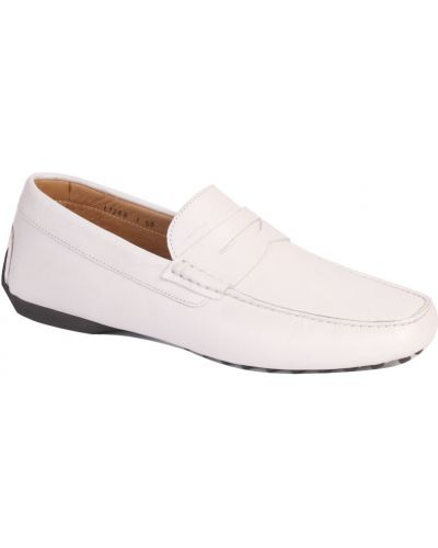 Мокасины белый кожаные Santoni