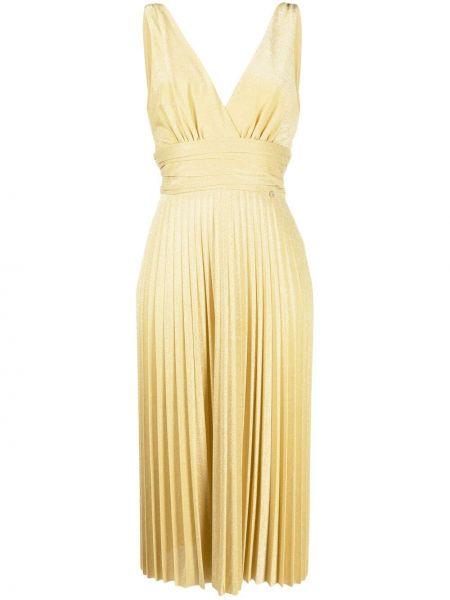 Приталенное желтое платье миди без рукавов Liu Jo