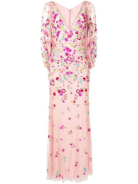 Розовое платье с пайетками из фатина Jenny Packham