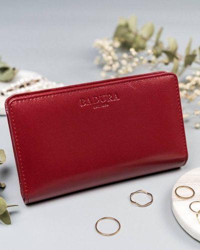 Czerwony portfel skórzany elegancki Badura