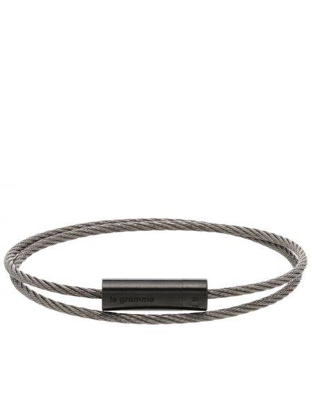 Bransoletka łańcuch srebrna - czarna Le Gramme