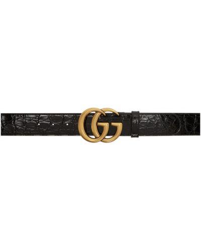 Pasek z paskiem złoto z prawdziwej skóry wytłoczony Gucci