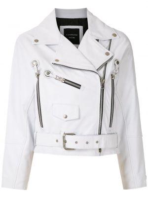 Белая кожаная короткая куртка на молнии À La Garçonne
