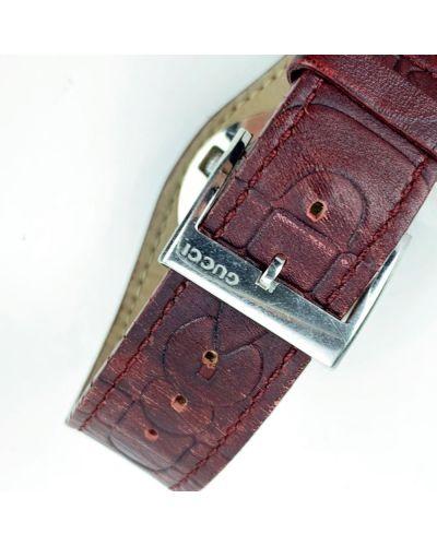 Biały zegarek na skórzanym pasku srebrny vintage Gucci Vintage