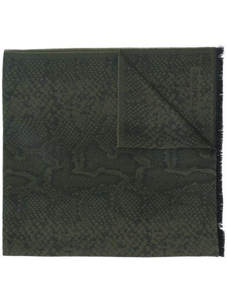 Шерстяной оливковый шарф Tom Ford