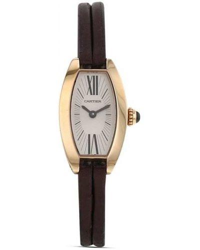 Кожаные с ремешком кварцевые часы золотые Cartier