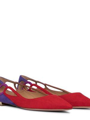 Фиолетовые кожаные балетки Aquazzura