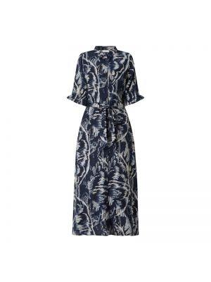 Niebieska sukienka rozkloszowana z wiskozy Kaffe
