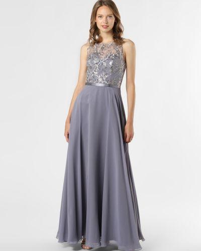 Szara sukienka wieczorowa z szyfonu Luxuar Fashion