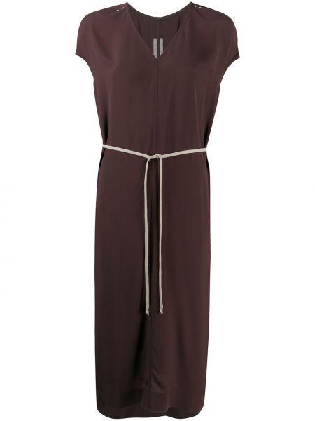 Brązowy jedwab sukienka midi z falbankami z dekoltem w szpic Rick Owens