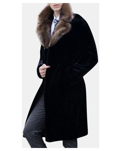 Черное пальто с воротником Newchic