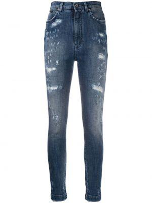Хлопковые синие джинсы с высокой посадкой Dolce & Gabbana