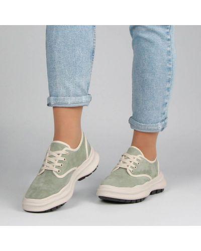 Кожаные кроссовки - зеленые Deenoor