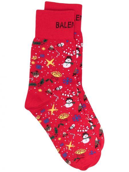 Trykotowy czerwony skarpety Balenciaga