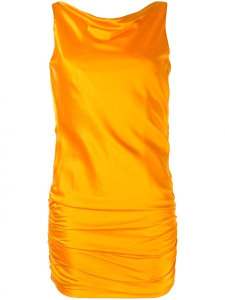 Прямое шелковое платье с открытой спиной с драпировкой Cinq À Sept