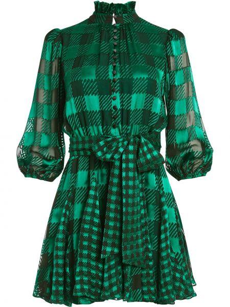 С рукавами зеленое платье мини с воротником из вискозы Alice+olivia