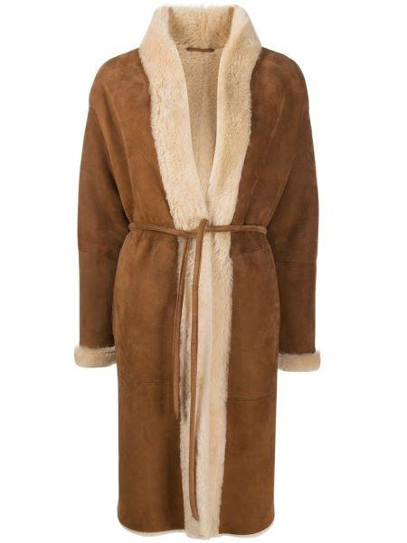Прямое коричневое кожаное длинное пальто Simonetta Ravizza