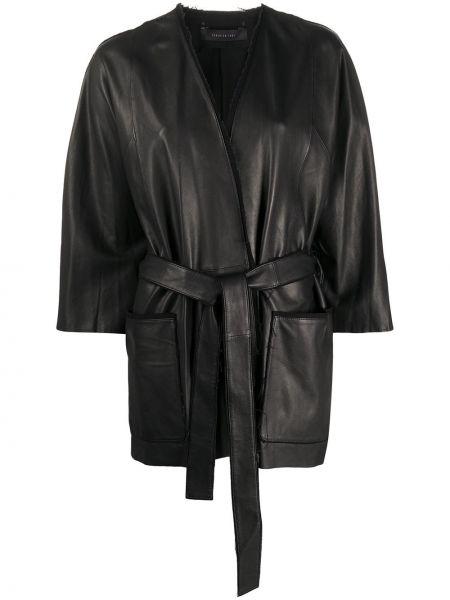 Черный кожаный короткая куртка с поясом Federica Tosi