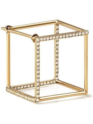 Золотистые желтые золотые серьги квадратные с бриллиантом Shihara