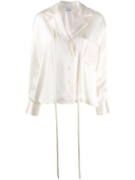 Белый джемпер с вышивкой на пуговицах с карманами Loewe