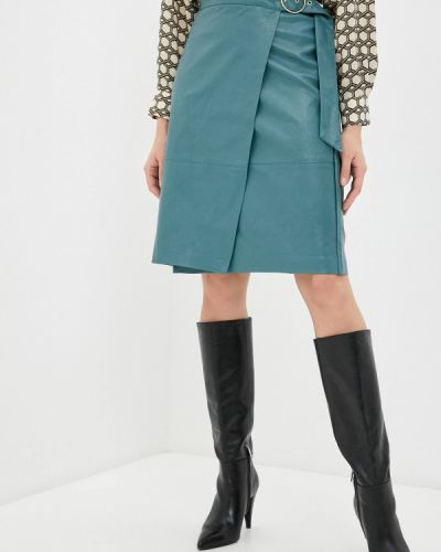 Бирюзовая кожаная юбка Zarina