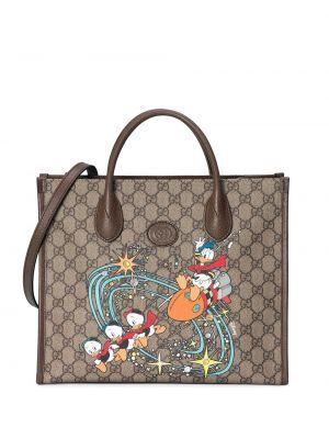 Кожаная коричневая сумка-тоут на молнии Gucci