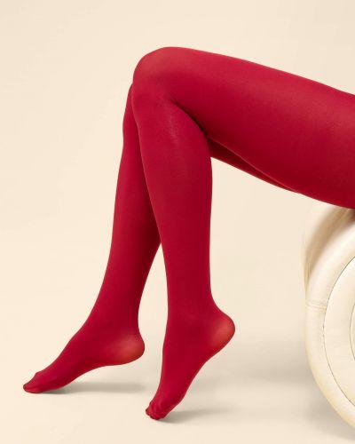 Rajstopy bawełniane - czerwone Orsay