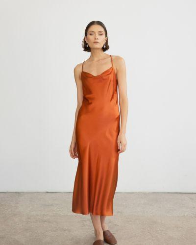 Шелковое платье миди с вырезом на бретелях Serenity