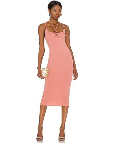 Трикотажное розовое платье миди с декольте Michael Costello