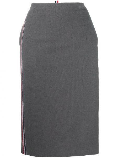 Хлопковая с завышенной талией серая юбка миди Thom Browne